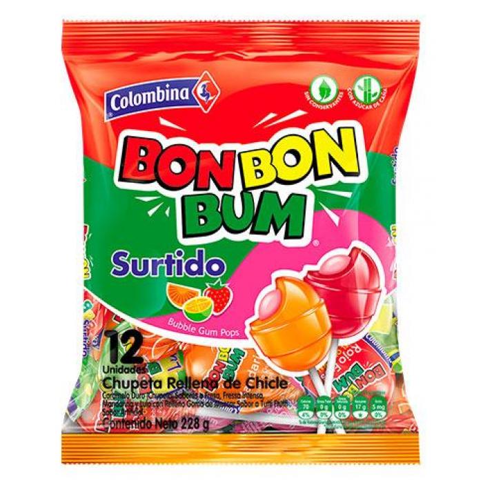 BON BON BUM ASSORTED COLOMBINA 408 gr